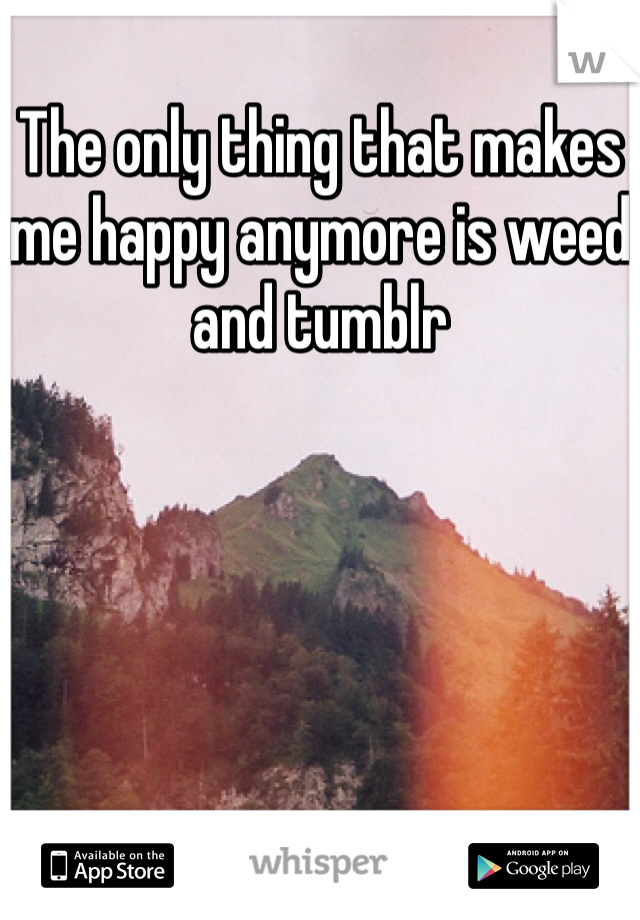 The only thing that makes me happy anymore is weed and tumblr