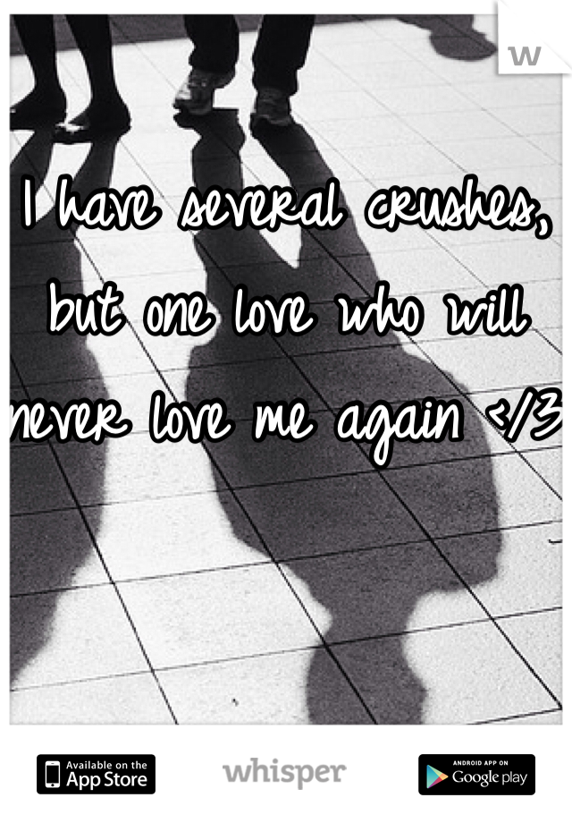 I have several crushes, but one love who will never love me again </3