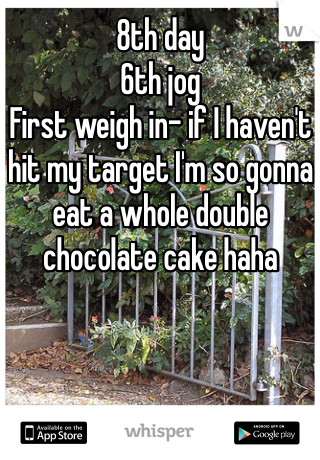 8th day 6th jog First weigh in- if I haven't hit my target I'm so gonna eat a whole double chocolate cake haha