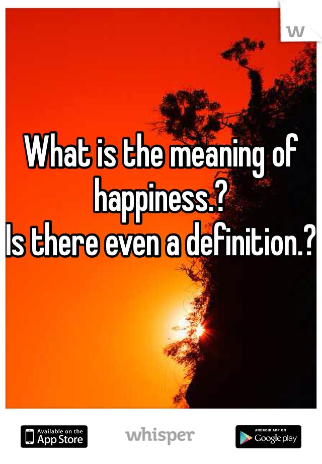 What is the meaning of happiness.? Is there even a definition.?