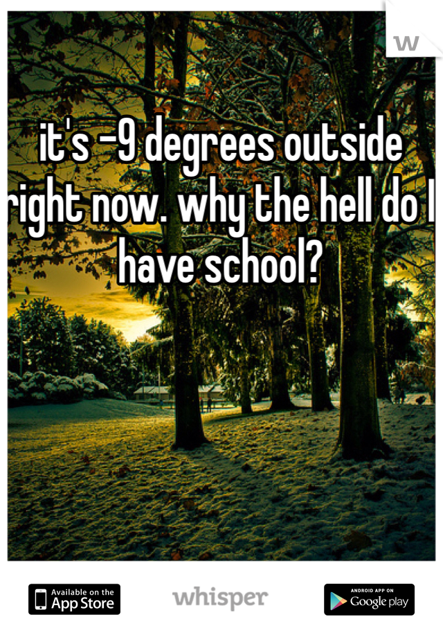 it's -9 degrees outside right now. why the hell do I have school?