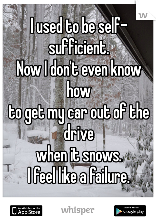 I used to be self-sufficient. Now I don't even know how to get my car out of the drive when it snows. I feel like a failure.