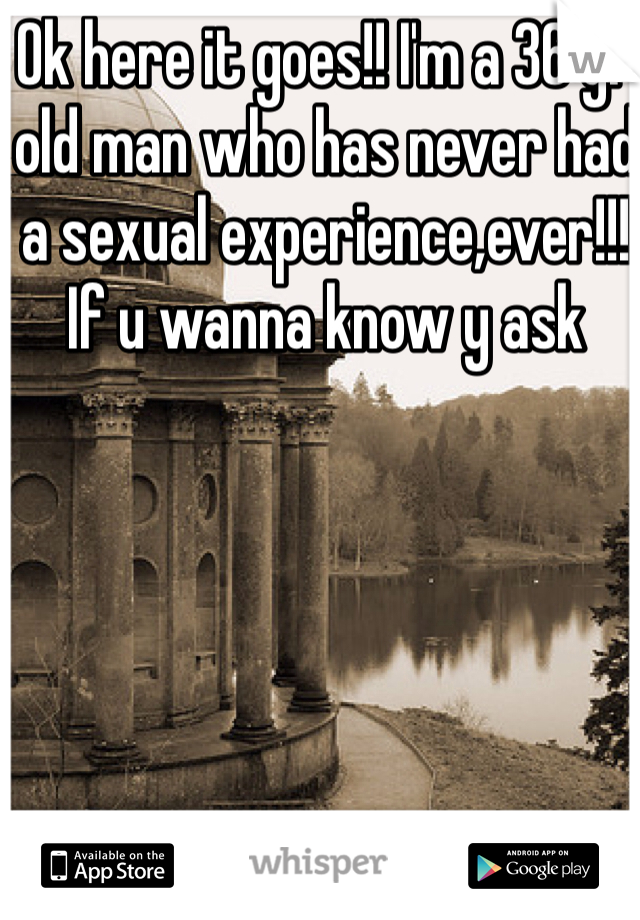 Ok here it goes!! I'm a 36 yr old man who has never had a sexual experience,ever!!! If u wanna know y ask