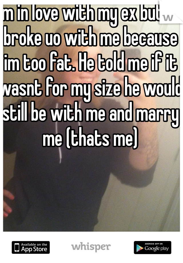 Im in love with my ex but he broke uo with me because im too fat. He told me if it wasnt for my size he would still be with me and marry me (thats me)