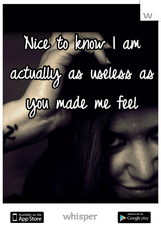Nice to know I am actually as useless as you made me feel