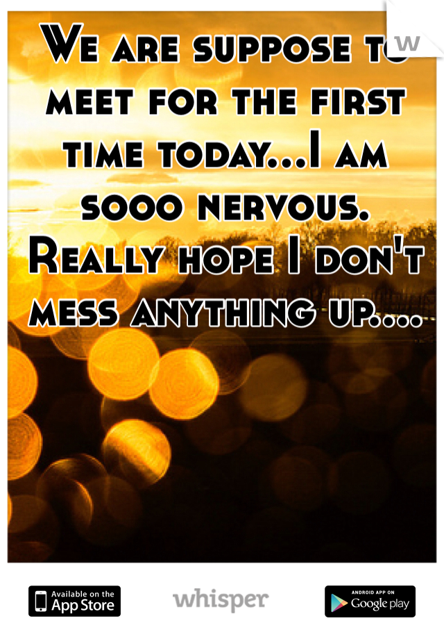 We are suppose to meet for the first time today...I am sooo nervous. Really hope I don't mess anything up....