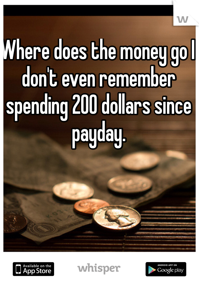 Where does the money go I don't even remember spending 200 dollars since payday.