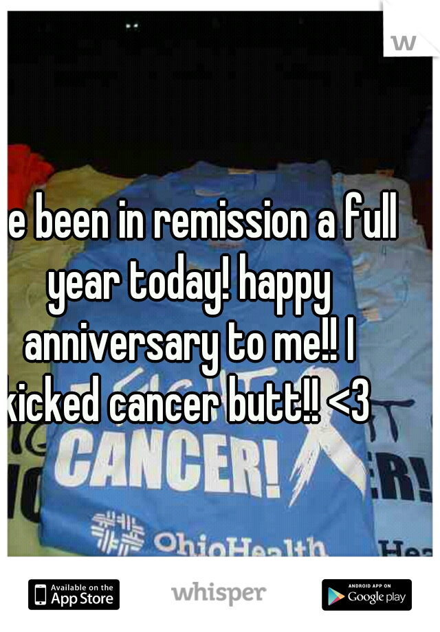 I've been in remission a full year today! happy anniversary to me!! I kicked cancer butt!! <3