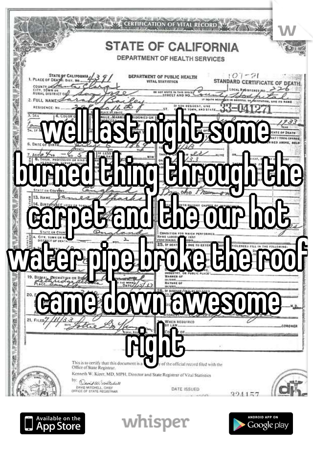 well last night some burned thing through the carpet and the our hot water pipe broke the roof came down awesome right