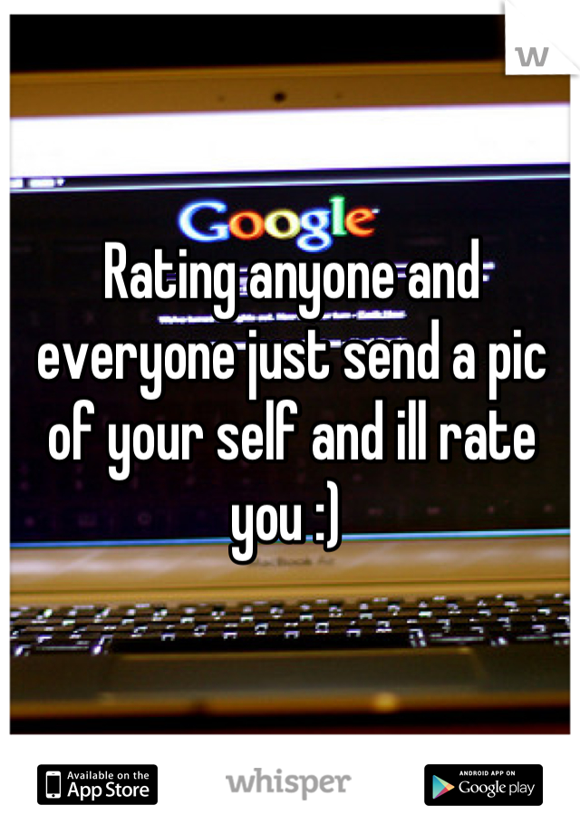 Rating anyone and everyone just send a pic of your self and ill rate you :)
