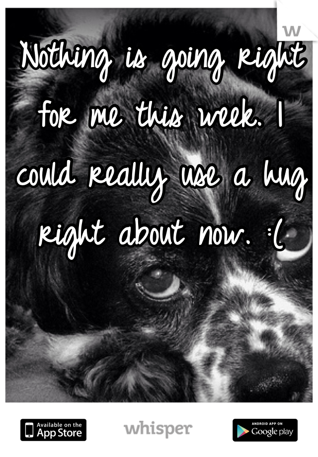 Nothing is going right for me this week. I could really use a hug right about now. :(
