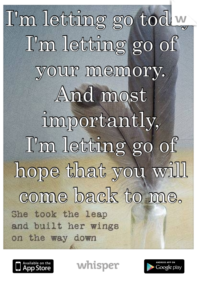 I'm letting go today. I'm letting go of your memory. And most importantly,  I'm letting go of hope that you will come back to me.