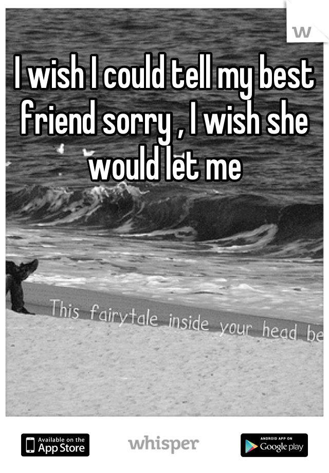 I wish I could tell my best friend sorry , I wish she would let me