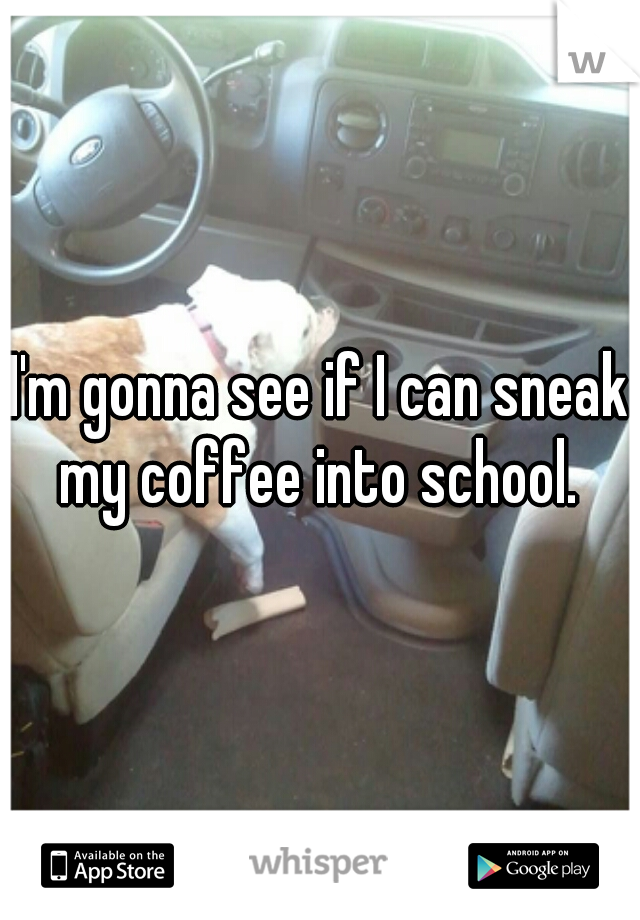I'm gonna see if I can sneak my coffee into school.