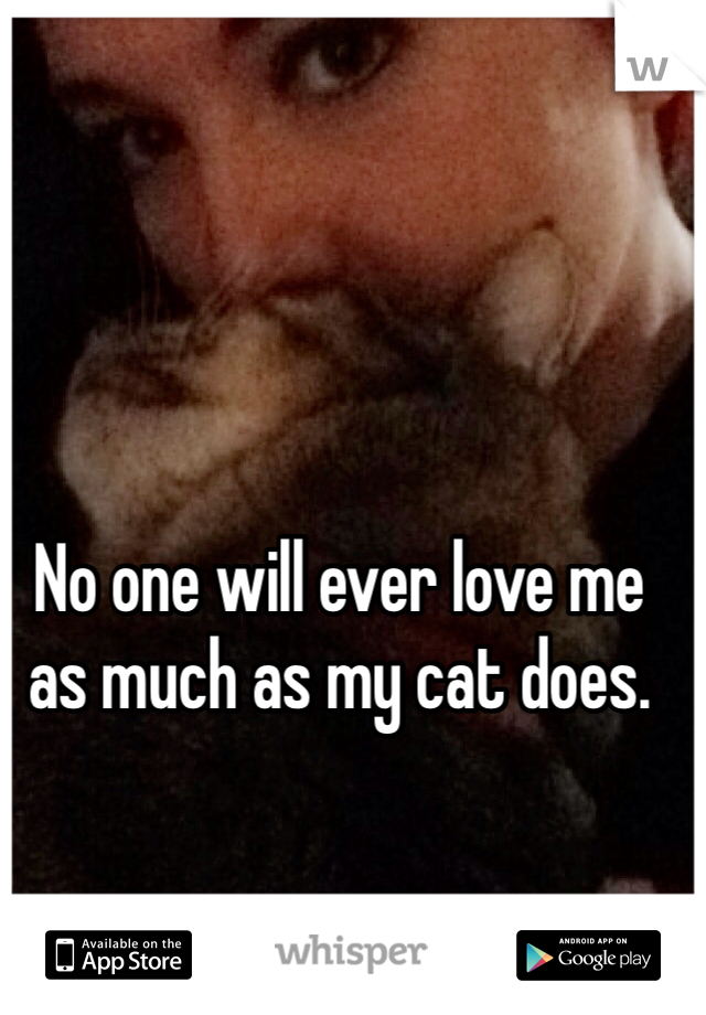 No one will ever love me as much as my cat does.