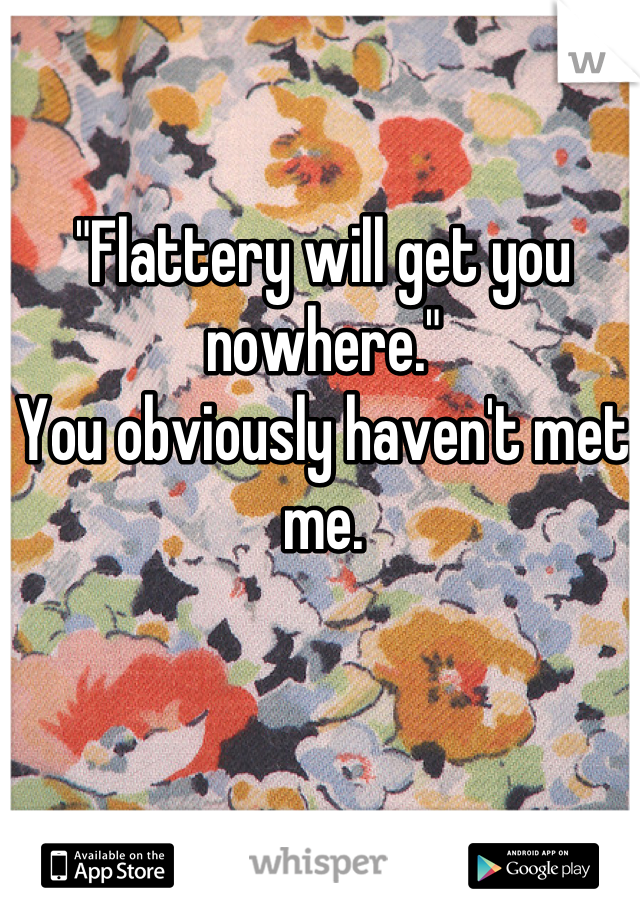 """""""Flattery will get you nowhere.""""  You obviously haven't met me."""