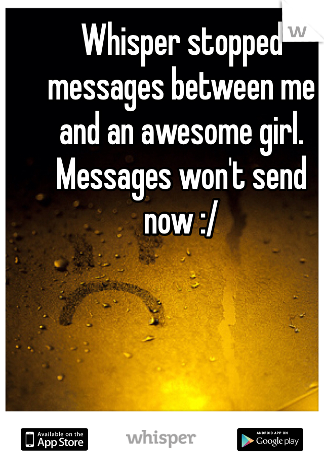Whisper stopped messages between me and an awesome girl. Messages won't send now :/