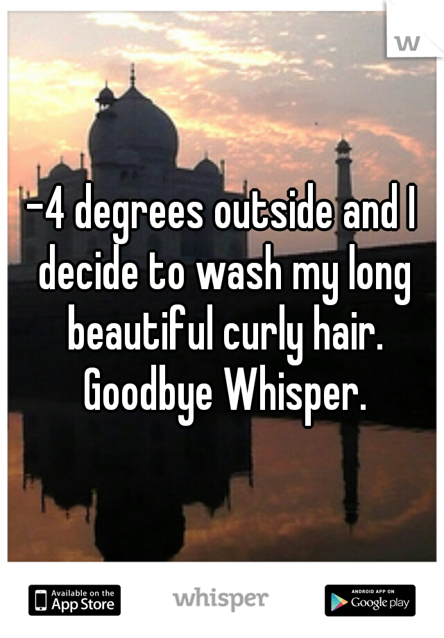 -4 degrees outside and I decide to wash my long beautiful curly hair. Goodbye Whisper.