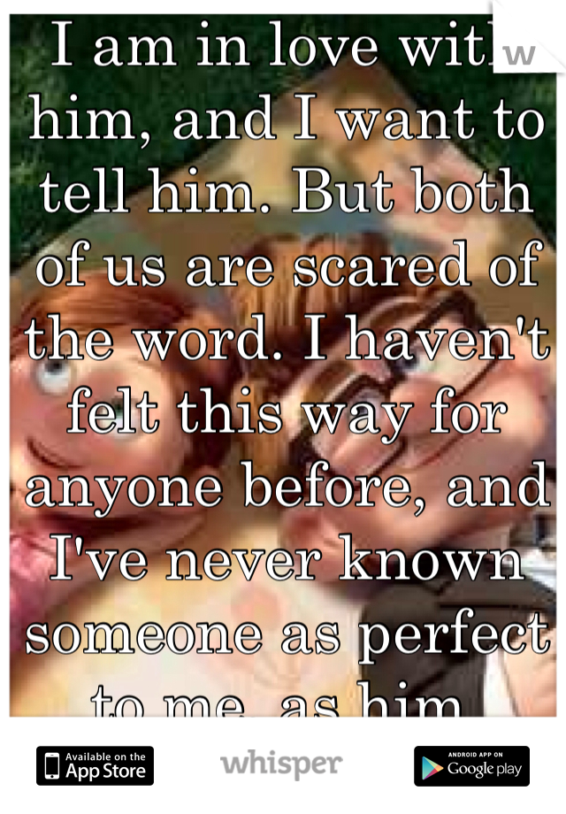 I am in love with him, and I want to tell him. But both of us are scared of the word. I haven't felt this way for anyone before, and I've never known someone as perfect to me, as him.