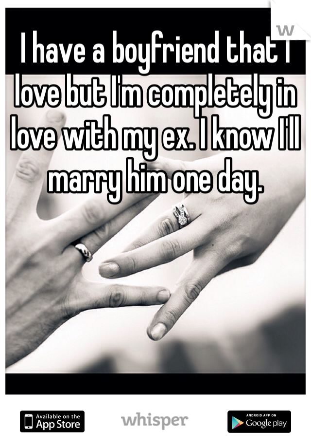 I have a boyfriend that I love but I'm completely in love with my ex. I know I'll marry him one day.