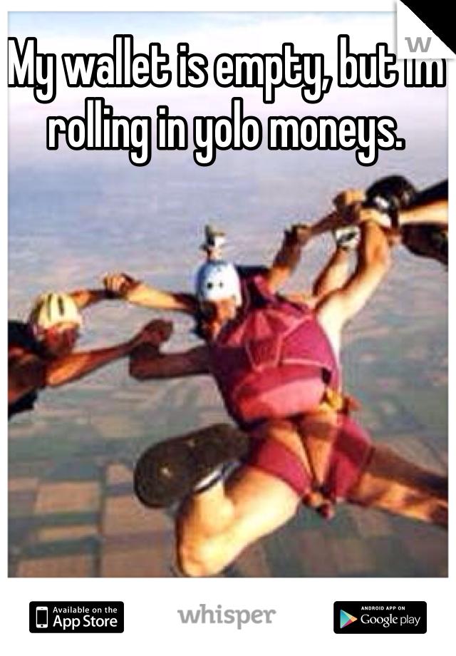 My wallet is empty, but im rolling in yolo moneys.
