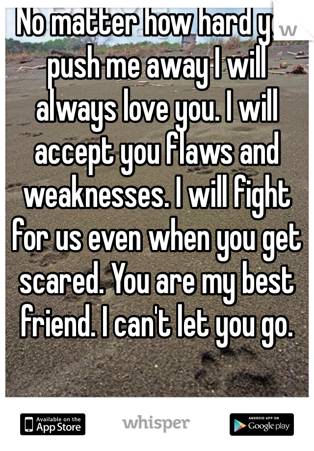 No matter how hard you push me away I will always love you. I will accept you flaws and weaknesses. I will fight for us even when you get scared. You are my best friend. I can't let you go.