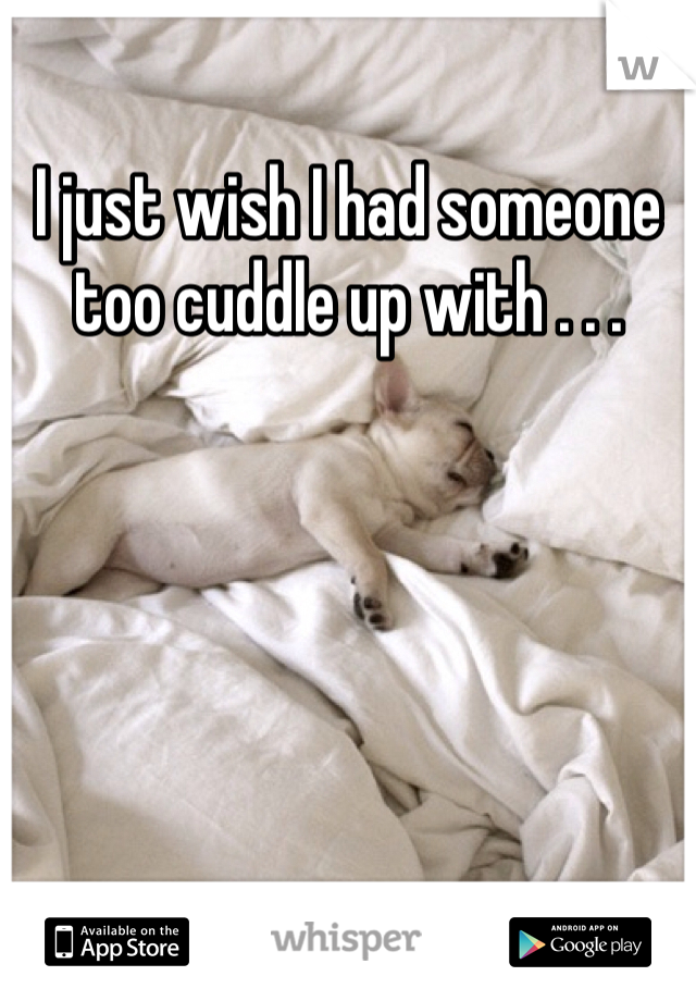 I just wish I had someone too cuddle up with . . .