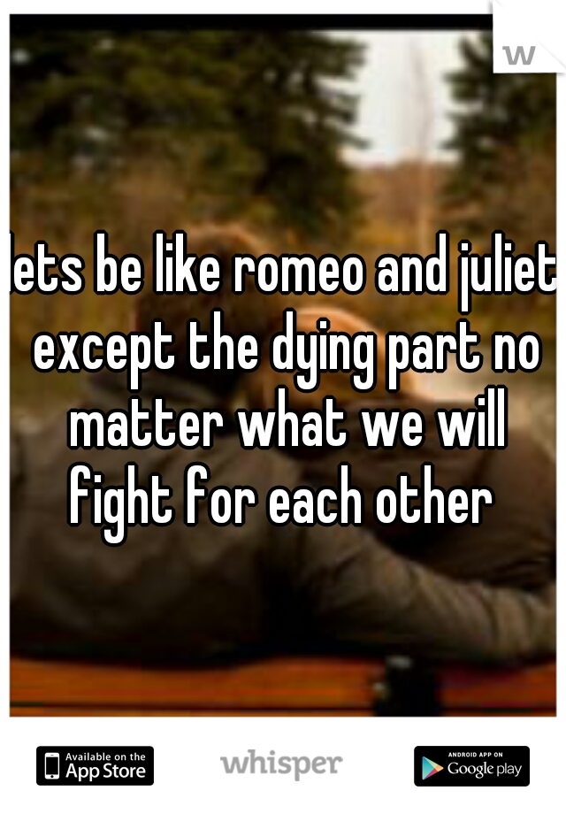 lets be like romeo and juliet except the dying part no matter what we will fight for each other
