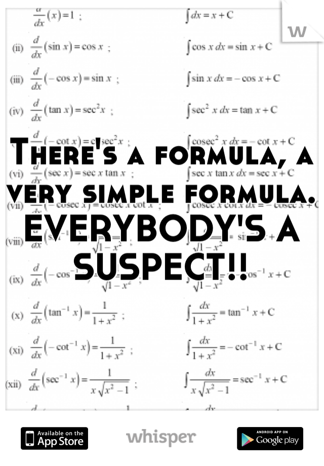 There's a formula, a very simple formula. EVERYBODY'S A SUSPECT!!