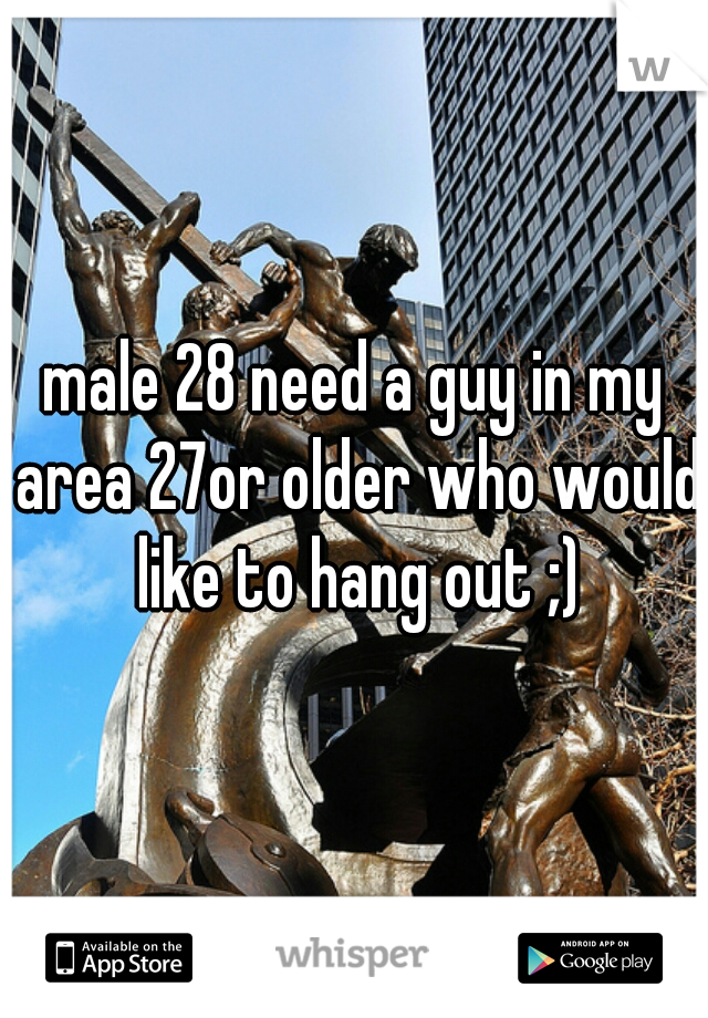 male 28 need a guy in my area 27or older who would like to hang out ;)