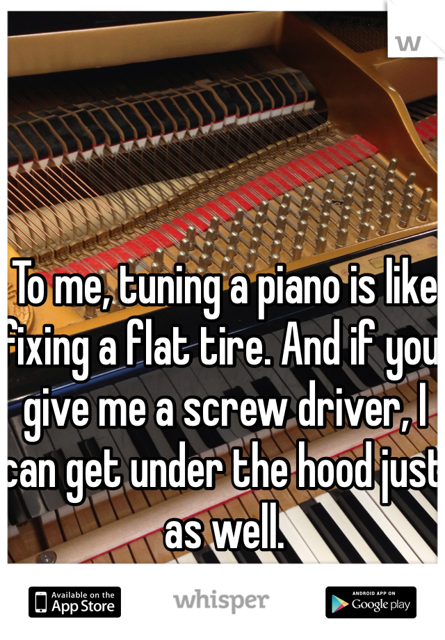 To me, tuning a piano is like fixing a flat tire. And if you give me a screw driver, I can get under the hood just as well.