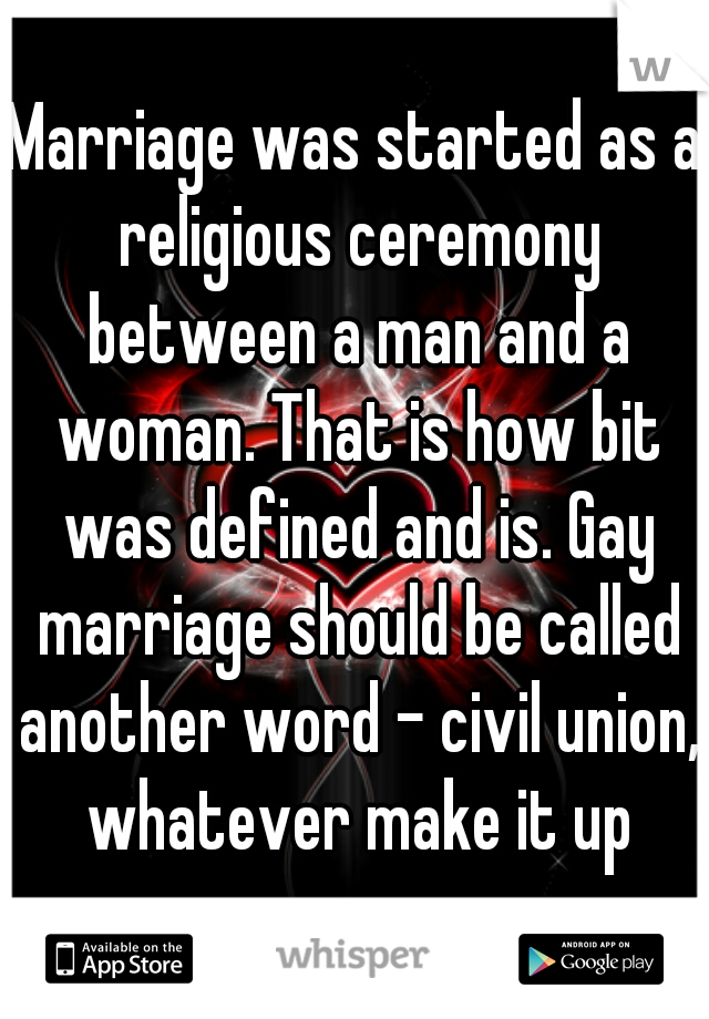 Marriage Was Started As A Religious Ceremony Between A Man And A
