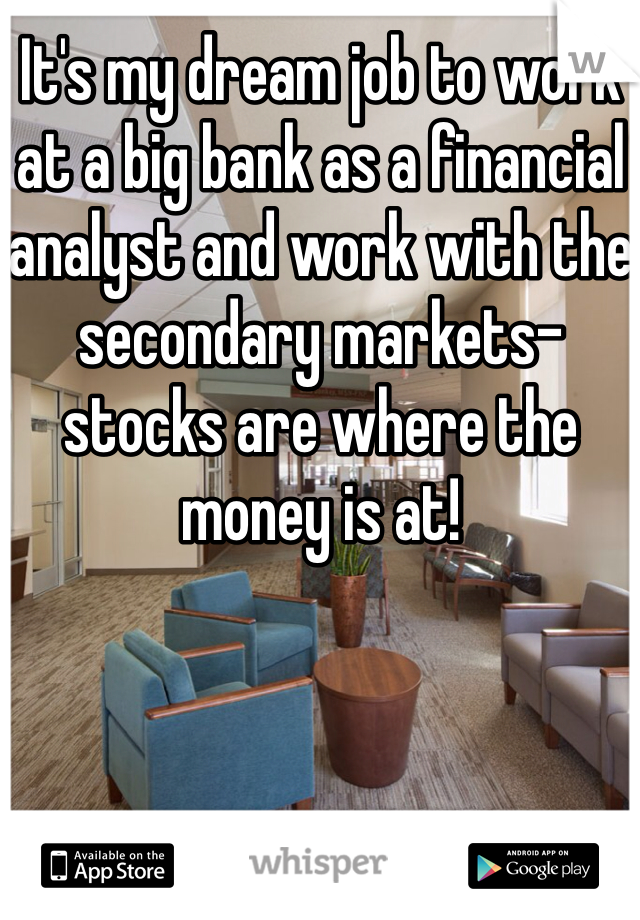 It's my dream job to work at a big bank as a financial analyst and work with the secondary markets- stocks are where the money is at!