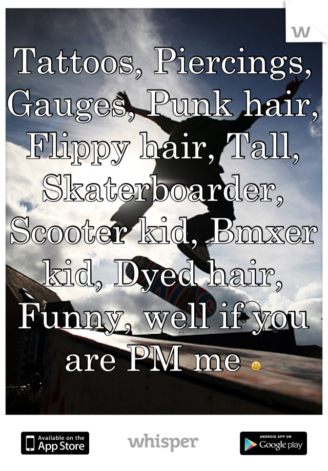 Tattoos, Piercings, Gauges, Punk hair, Flippy hair, Tall, Skaterboarder, Scooter kid, Bmxer kid, Dyed hair, Funny, well if you are PM me 😃