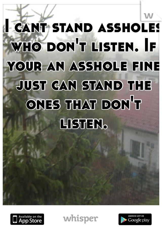 I cant stand assholes who don't listen. If your an asshole fine just can stand the ones that don't listen.