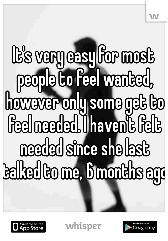 It's very easy for most people to feel wanted, however only some get to feel needed. I haven't felt needed since she last talked to me, 6 months ago.