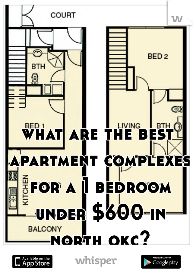 what are the best apartment complexes for a 1 bedroom under $600 in north okc?