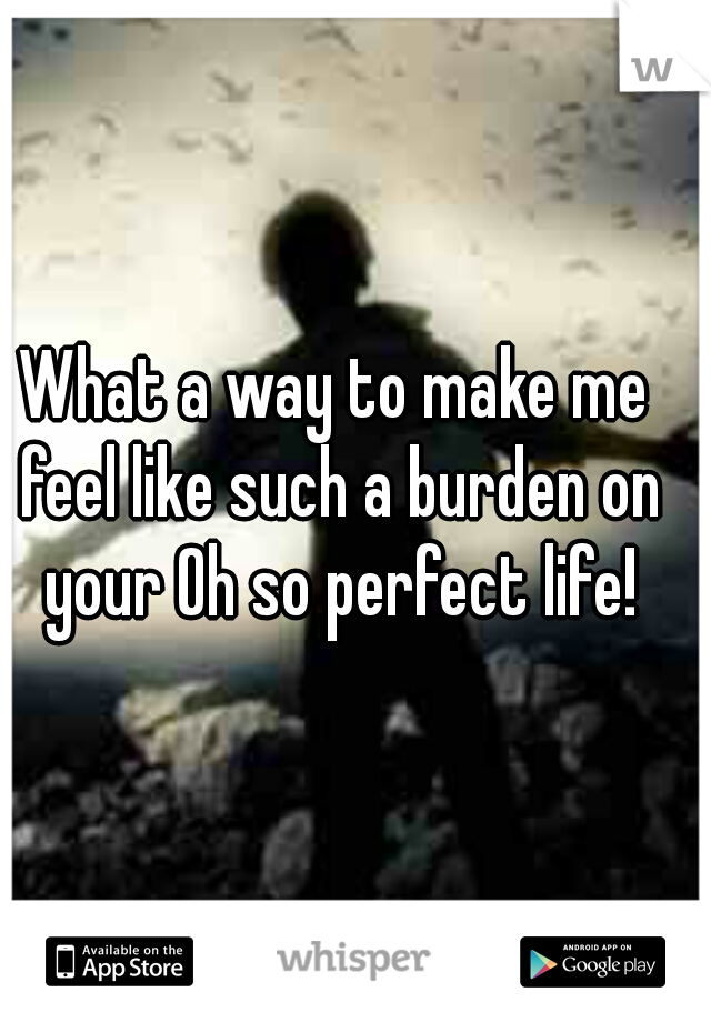 What a way to make me feel like such a burden on your Oh so perfect life!
