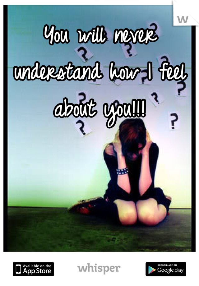 You will never understand how I feel about you!!!