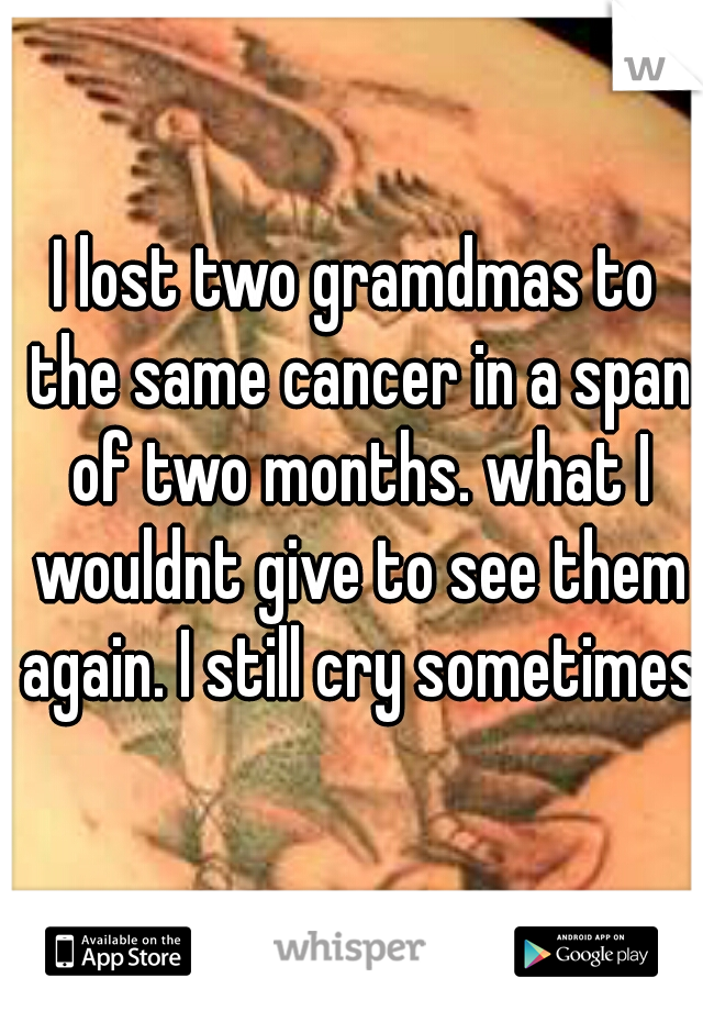 I lost two gramdmas to the same cancer in a span of two months. what I wouldnt give to see them again. I still cry sometimes