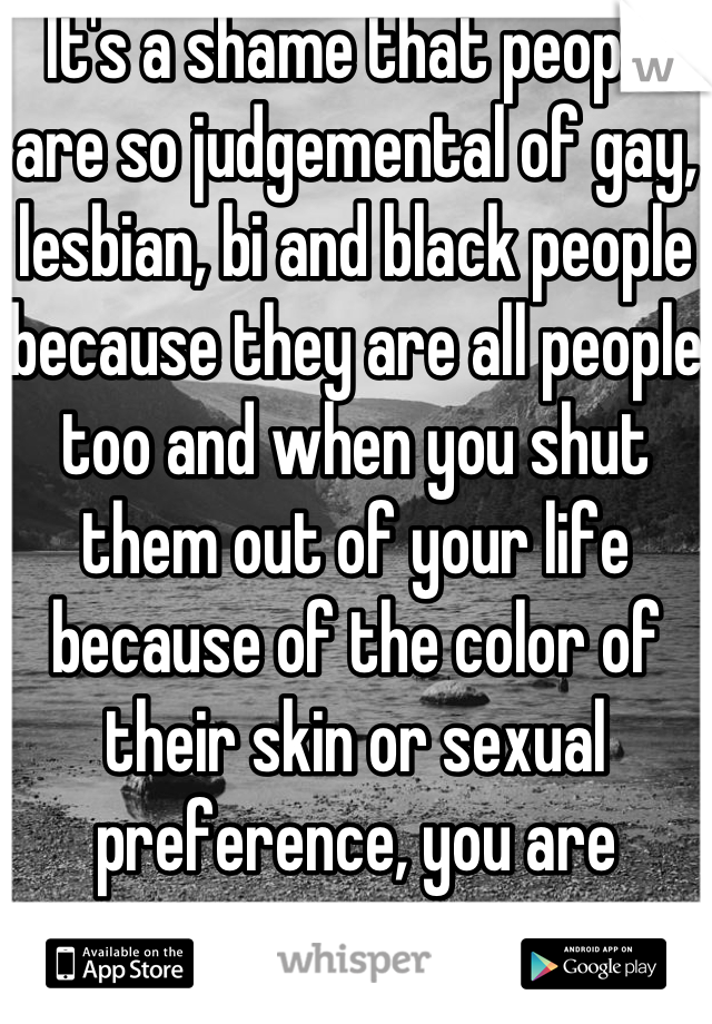 It's a shame that people are so judgemental of gay, lesbian, bi and black people because they are all people too and when you shut them out of your life because of the color of their skin or sexual preference, you are missing out on an opportunity to meet a really neat person.