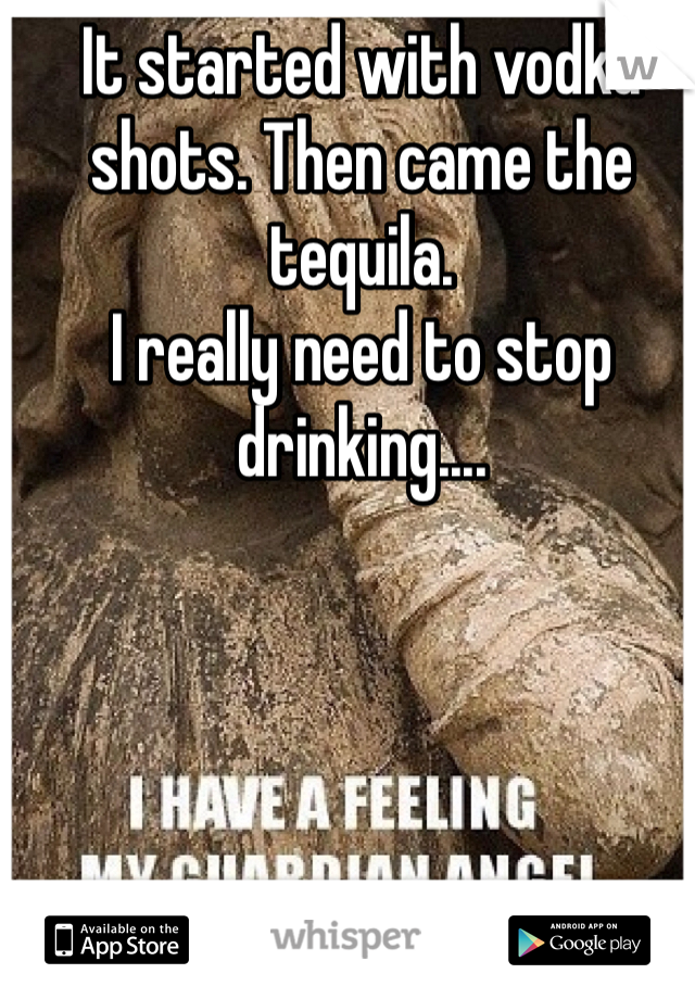 It started with vodka shots. Then came the tequila. I really need to stop drinking....