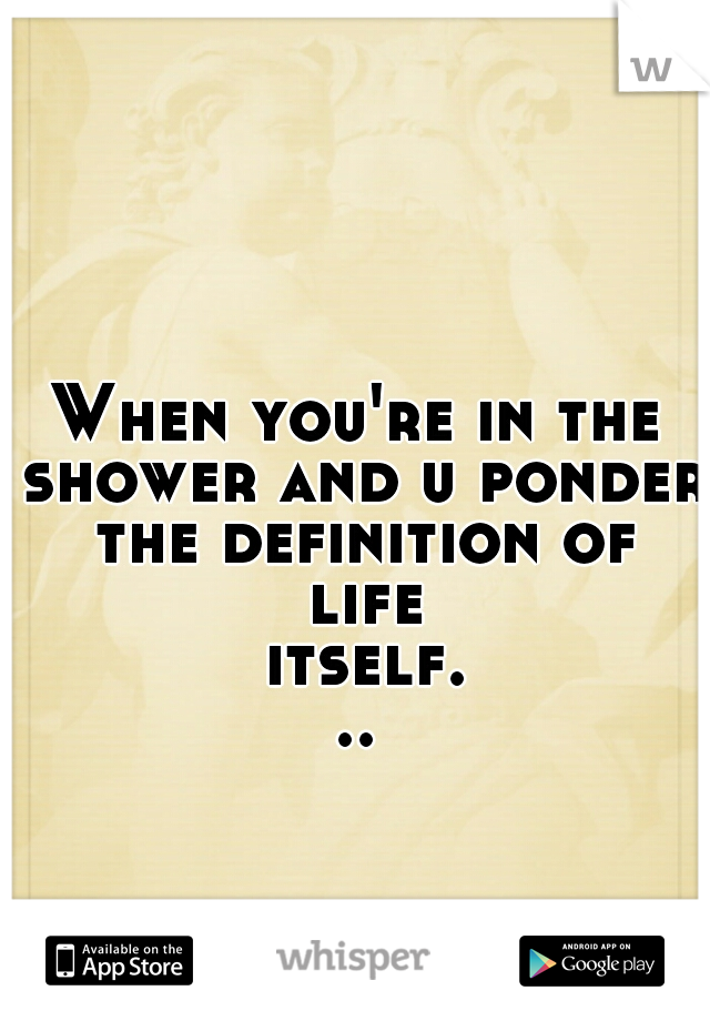 When you're in the shower and u ponder the definition of life itself...
