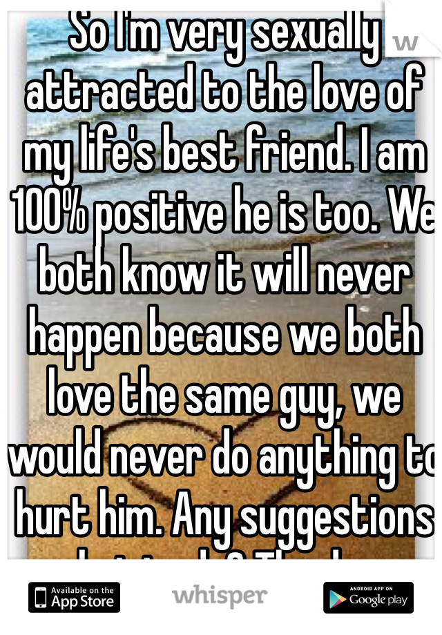 So I'm very sexually attracted to the love of my life's best friend. I am 100% positive he is too. We both know it will never happen because we both love the same guy, we would never do anything to hurt him. Any suggestions on what to do? The dreams are getting vivid.