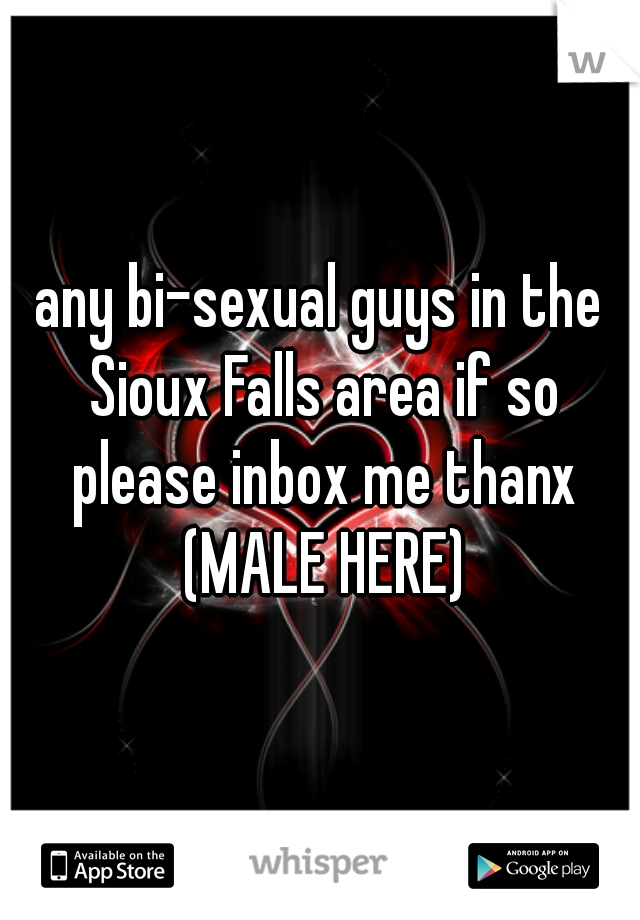 any bi-sexual guys in the Sioux Falls area if so please inbox me thanx (MALE HERE)
