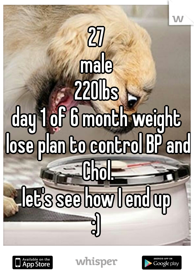 27 male 220lbs day 1 of 6 month weight lose plan to control BP and Chol. let's see how I end up :)