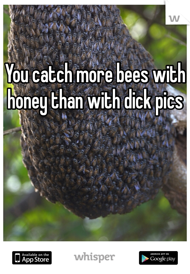 You catch more bees with honey than with dick pics