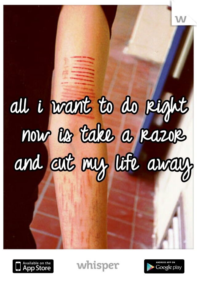 all i want to do right now is take a razor and cut my life away