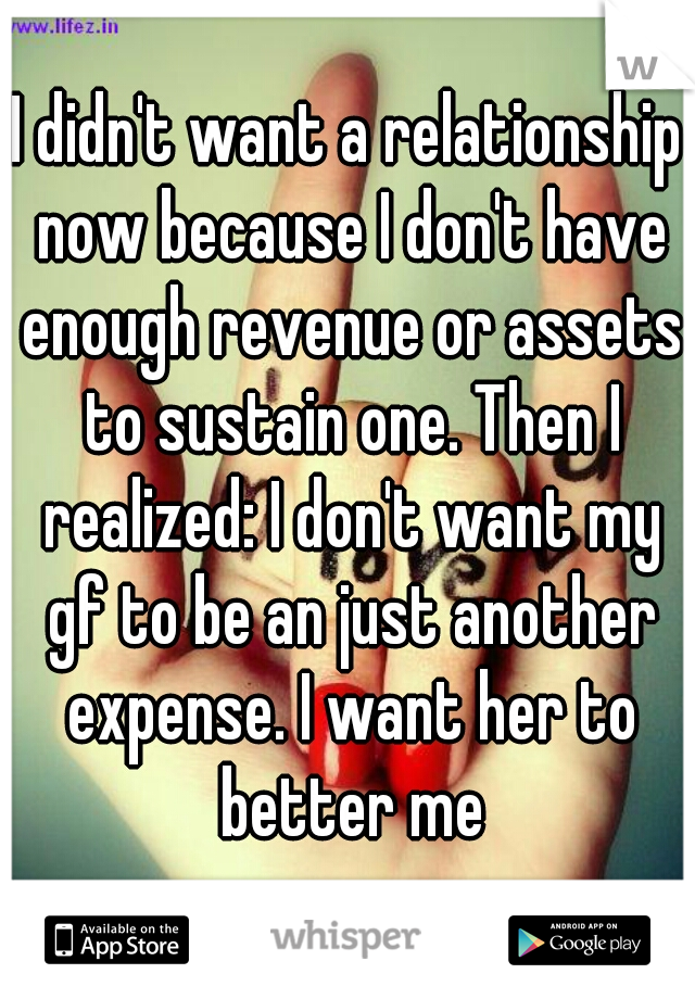 I didn't want a relationship now because I don't have enough revenue or assets to sustain one. Then I realized: I don't want my gf to be an just another expense. I want her to better me