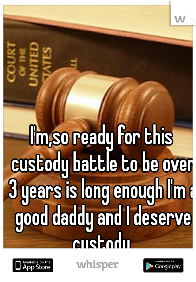 I'm,so ready for this custody battle to be over 3 years is long enough I'm a good daddy and I deserve custody